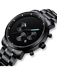 Reloj Hombre Reloj de Pulsera Impermeable Cronógrafo Deportivo de Plata Acero Inoxidable Reloj de Hombres Fecha
