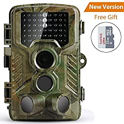COOLIFE Wildlife Camera, Hunting Game Camera Trail Surveillance Waterproof 3 Zone Infrared Sensor 16MP 1080P HD With Time Lapse 82ft 125¡ã Wide Angle Night Vision for Wildlife with 32G SD Card