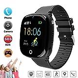 DUWIN 2019 Montre Intelligente GPS IP67 IP67 étanche Téléphone Smartwatch Enfants pour Garçons Filles avec Jeu de Puzzle SOS Appels Caméra Jeux Cadeaux d'anniversaire Électronique Jouets,Black