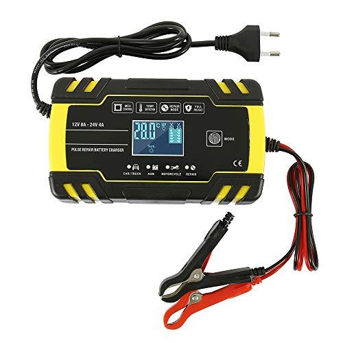 Comficent Batterie Ladegerät Vollautomatisches Batterieladegerät mit LCD Display 12V/8A 24V/4A, Mehrfachshutz für Auto, Motorrad usw.