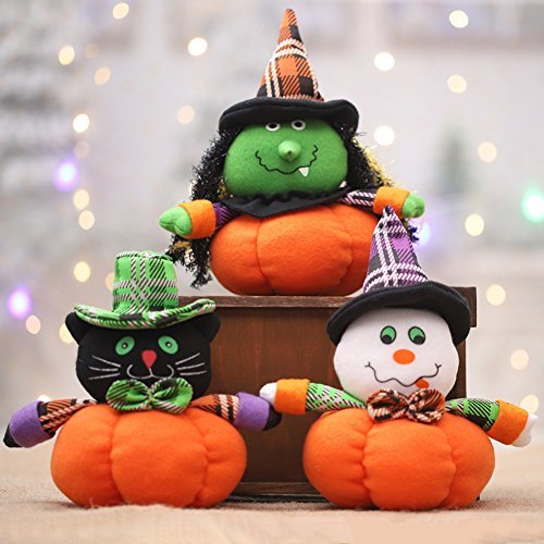 Lovely Pumpkin Cat Witch Ghost Cloth Plush Toy Bar Club Home Halloween Decor Gift