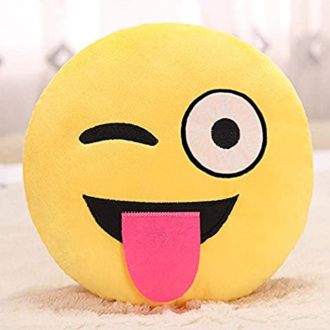 Showkoo Moda Emoji ventaglio tondo forma cuscino Per Office Nap - naughty viso