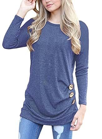 T shirt Femme Manches Longues Lâche Tunique Blouse Casual Tops Avec Boutons (S, Bleu)