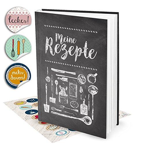 Geschenk-Set: XXL Rezeptbuch zum Selberschreiben TAFEL-KREIDE-LOOK + 35 bunte Küchen-Sticker DIN...