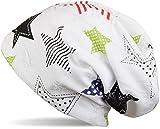 styleBREAKER crazy destroyed Beanie Mütze mit bunten Sternen in Punkte und Streifen Optik, Damen 04024059, Farbe:Weiß/Mehrfarbig - Schwarz