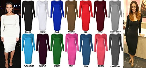 Crazy Girls Womens Plain Long Sleeve Scoop Neck Stretch Bodycon Maxi Midi Dress