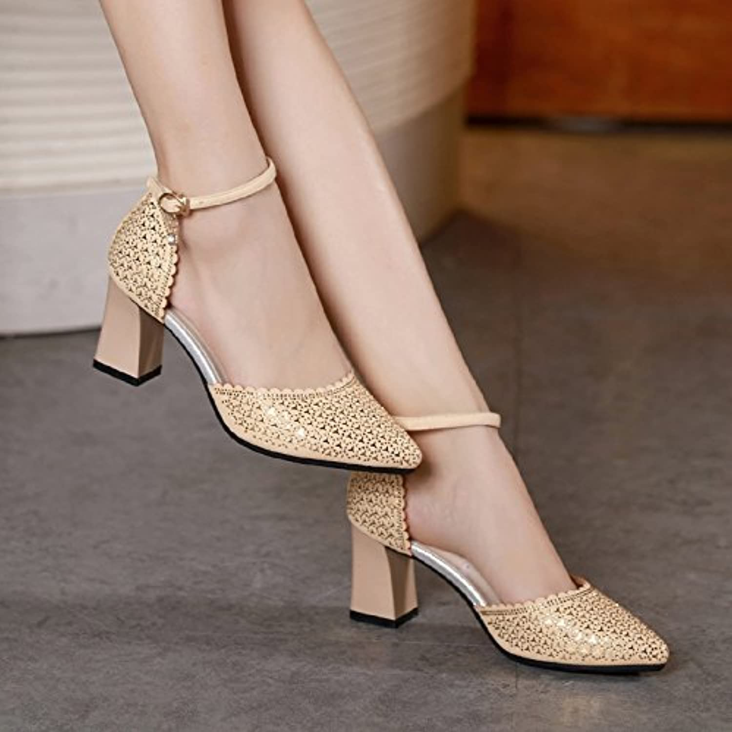 998385afec2c SHOESHAOGE nhta-20987 Baotou Sandals Parent Female Light-Tipped Women S  Shoes Summer 20978 A Word With Rhinestones Coarse Heel Black Heels.