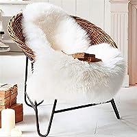 Tapis en peau de mouton, 60x90 cm en peau d'agneau mouton blanc tapis, fourrure à poils longs imitation laine lit matelas canapé faux agneau en peau de mouton tapis (Blanc)