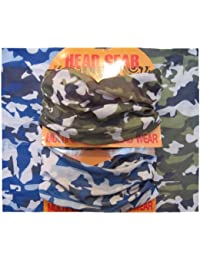 Twin Pack - One Blue and One Green Camouflage Pattern Multifunctional Necker Biker Neck Warmer Head Gear, One Size