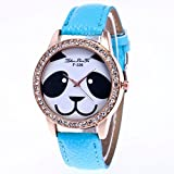 Dilwe Damen-Armbanduhr, hochwertig, schönes Panda-Muster, Quarz-Uhrwerk, mit PU-Armband für Frauen, Mädchen, Schüler, als Geschenk, hellblau