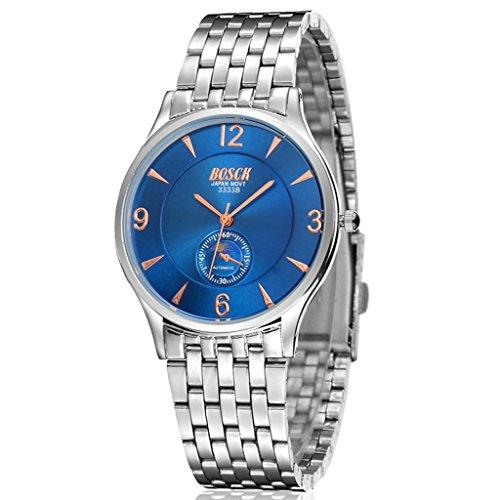 Unendlich U Fashion Luxus Herren Armbanduhr Slim Blau Zifferblatt Edelstahl Armband Wasserdicht Analog Quarz Uhr