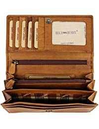 3004bb29e7a3e Hill Burry hochwertige Vintage Leder Damen Geldbörse Portemonnaie langes  Portmonee Geldbeutel aus…