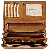 Hill Burry hochwertige Vintage Leder Damen Geldbörse Portemonnaie langes Portmonee Geldbeutel aus...