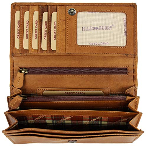 Hill Burry hochwertige Vintage Leder Damen Geldbörse Portemonnaie langes Portmonee Geldbeutel aus weichem Leder in braun - 17,5x10x3cm (B x H x T) (Portemonnaie Damen Fossil)