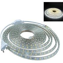 LEDMOMO 1 M RGB impermeable 5050 tira impermeable del LED luces led para cumpleaños decoración de fiesta de Navidad con enchufe de la UE (blanco puro)
