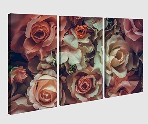 Leinwandbild 3 tlg Blume Blumen Muster Rosen braun weiss Vintage Bild Bilder Leinwand Leinwandbilder Holz Wandbild mehrteilig 9W047, 3 tlg BxH:120x80cm (3Stk 40x 80cm)