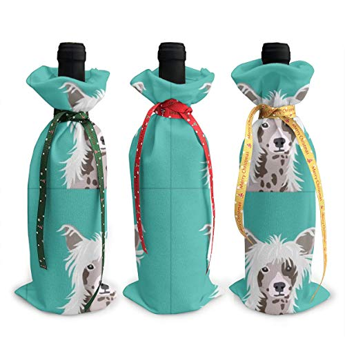 Wine Bags Chinese Crested Dog with Cut Lines Dog Panel Dog Cut Sew Champagne Wine Bottle Bags Covers for Wedding Party Holiday 3 Pieces Set -