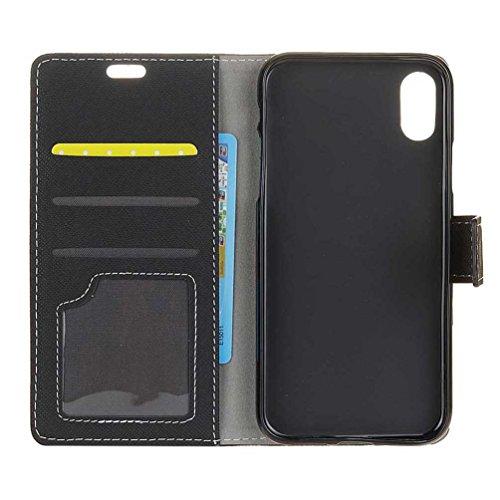 Hülle Für iPhone X, PU Leder Etui Hülle im Bookstyle Handy Tasche für iPhone X Schutzhülle Schale Flip Cover Wallet Case (KW-05#) KW16#