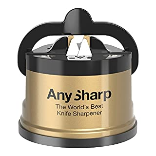 AnySharp Global Classic Knife Sharpener with PowerGrip, Gold