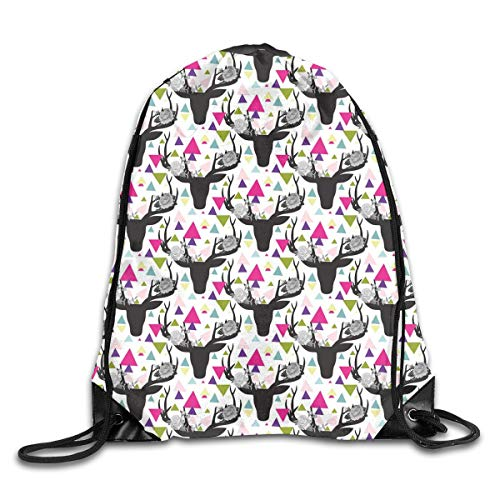 EELKKO Drawstring Backpack Gym Bags Storage Backpack, Geometric Colorful Triangles Background with Dark Animal Head Silhouettes with Antlers,Deluxe Bundle Backpack Outdoor Sports Portable Daypack -
