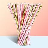 Assortiment de pailles en papier, Merrynine décoratifs pailles pour anniversaire, mariage, Noël, fêtes, réceptions, 100pièces