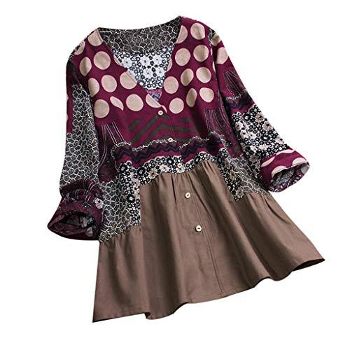 (TEBAISE Damen Sommer Herbst Elegante Frauen Leinen Floral Printed Langarm Beiläufig Täglichen Party Workout Tunika Swing Tops Shirt Bluse Hemd)