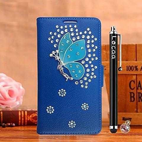 Locaa(TM) For Nokia Lumia 920 Nokia920 Lumia920 3D Bling Case Funda Cuero Para Protector Dura Accesorios Funda Bumper Shell Caso Alta Calidad Piel Phone Cover Cas [3] Azul - Cristal
