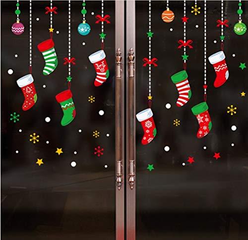 QTXINGMU Weihnachten Wandaufklebern Cartoon Weihnachten Socken Storefront Fenster Glas Tür Hintergrund Dekoration (Halloween Socke Affe)