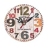Ularma Estilo vintage TIC TAC reloj de pared silencioso de madera antiguo (Multicolor...