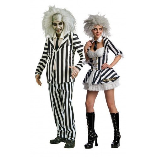 Set per travestimento di coppia, costumi da mr & mrs beetlejuice, per halloween e feste in maschera
