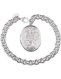 lekima ovalado grabado de flor de loto pulsera brazalete encanto cobre mano cadena mujeres (con bolsa de regalo)