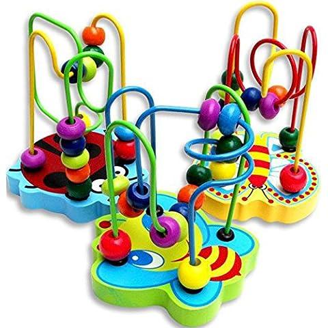 Toraway 1PC Colorido mini pista de madera alrededor de los granos del juego educativo del juguete