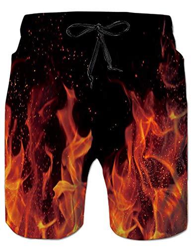 Rave on Friday Mens Beach Shorts 3D Gedruckt Lustige Freizeit Feuer Grafik Boardshorts Hawaii Funky Swim Trunk M (Feuer Mans Hat)