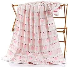 Toallas de algodón puro Claee están cubiertos con seis capas de gasa, los niños están cubiertos con algodón, Toallas infantiles son bebés,Corona Embalaje Correa rosa,110*115 cm.