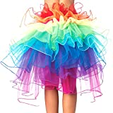 Eleery Damen Tutu Schürze Kostüm Petticoat Princess Multi-schichten Regenbogen Puff Rock (Rainbow)