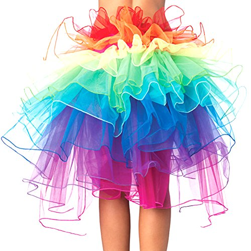 Eleery Damen Tutu Kostüm Petticoat Princess Multi-schichten Regenbogen Puff Rock (Tutu Kostüme Womens)