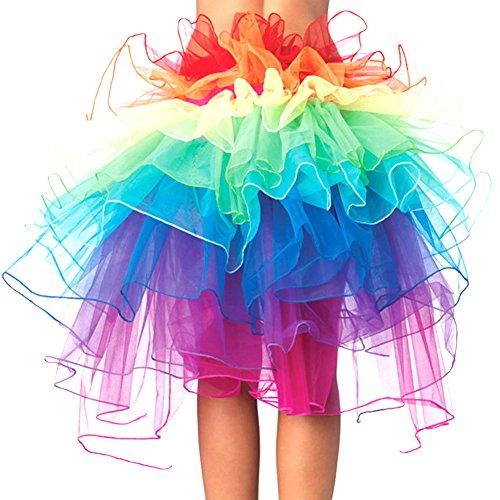Womens Einhorn Kostüm Fantasy - Eleery Damen Tutu Schürze Kostüm Petticoat Princess Multi-schichten Regenbogen Puff Rock (Rainbow)