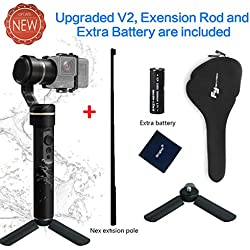 Feiyu G5 (Version V2 à jour) 3 axes de cardan poche Action caméra stabilisateur pour GoPro HERO5 HERO4 HERO3 pour Yi Cam 4K pour AEE et Action caméras de taille semblable +(1 batterie supplémentaire)
