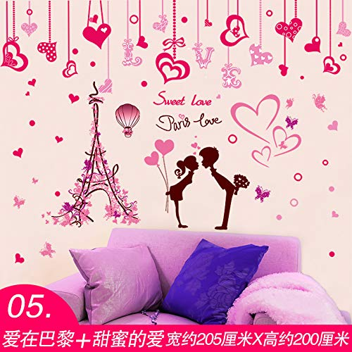 3D Three-Dimensional Love Girl Heart Warm Bedroom Room Wallpaper Bedside Sofa Background Wall Rose Wall Sticker Sticker Sticker Love In Paris And Sweet Love