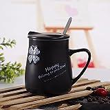 TIANLIANG04 Tazas Tazas de café Un Par De Tazas De Cerámica De Trébol _ Taza De Cerámica Blanco Y Negro Regalos Regalos Nuestros Amantes, 401-500Ml, Blanco