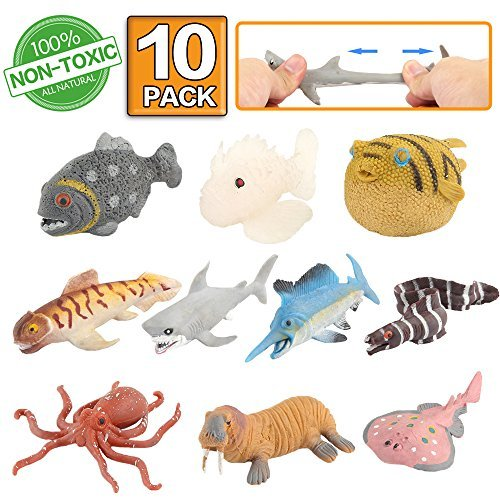 Marine animal, 10 packages of rubber bath toys, You can change the color of some types, party of the world zoo figures of floating and soft bath toy, bath with shark