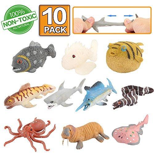Animal marino, 10 paquetes de juguetes de goma de baño, Se puede camb