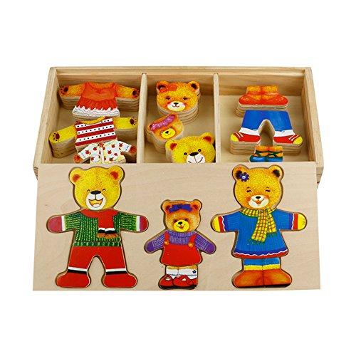 TONZE Holzpuzzle Steckspiel Holzspielzeug Steckpuzzle Anziehpuzzle Teddy Bär mit Holzkiste Klein Geschenk Lernspielzeug für Kinder ab 3 Jahre.