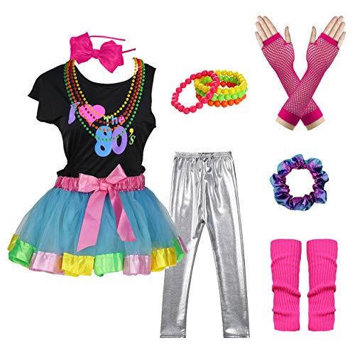 Kostüm Star Jahre 80er Pop Sexy - I Love 80s T-Shirt Rainbow Tutu Skirt Pop Party Rock Star Child Girl's Costume Accessories Fancy Outfits (7/8, Blue)