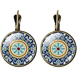 Frauen Hippie Mandala Indien Aztekische Handwerk Handgefertigte Edelstahl Ohrringe