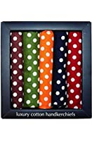 Pack of 5 Soprano Polka Dot cotton handkerchiefs in a presentation box - five different colours