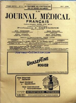 JOURNAL MEDICAL FRANCAIS (LE) [No 5] du 02/05/1938