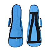 zealux® Coloré Étui Sac bandoulière réglable 5mm éponge remplir Étui pour ukulélé et ukulélé 26 in bleu