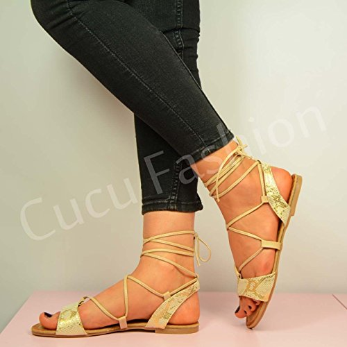 Cucu Fashion - Peep-Toe donna Beige (beige)