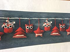 Idea Regalo - Tappeto cucina natale natalizio PVC rosso / marrone Blue /grigio plastica lavabile (cm 55 x 180, rosso/grigio)